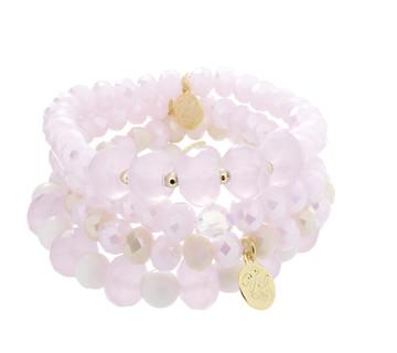 Stretch Bracelets-Set of 4-Pinks