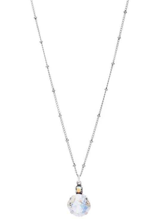 Necklace - Single Drop 12mm Square  - Silver Tone