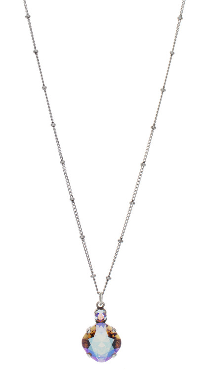 Necklace - Single Drop 12mm Square Ultra Colors - Silvertone
