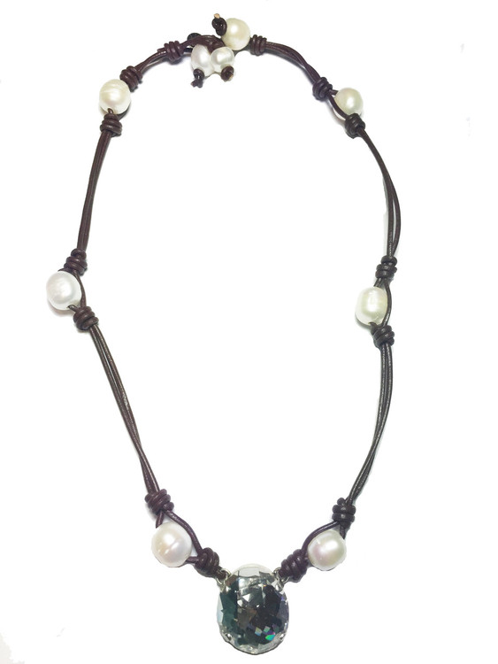 Necklace - Clear Water Pearl - 18mm