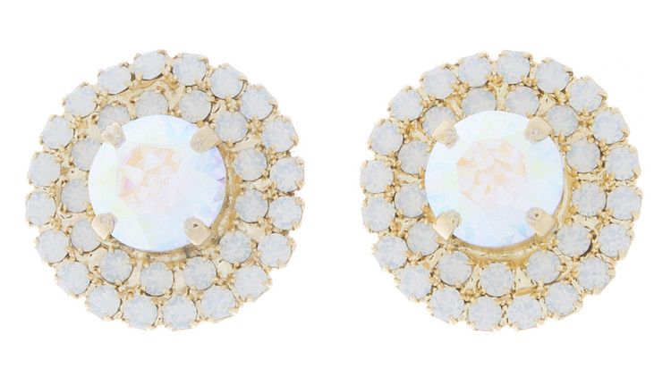 Earring 8mm Double Crystal Wrap Studs Gold