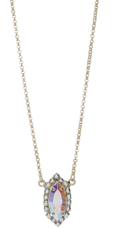 Navette Crystal Ab Necklace Goldtone