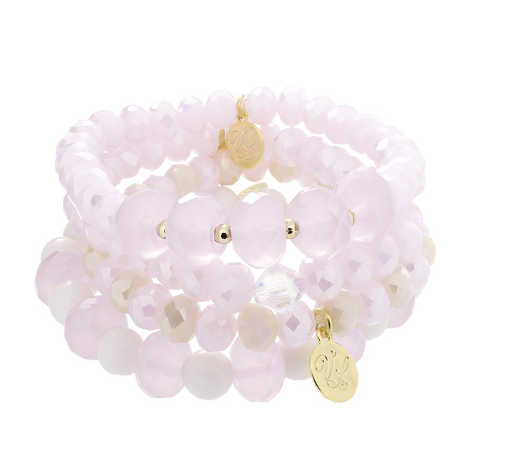 Stretch Bracelets-Set of 4-Pinks