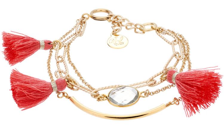 Tassel Stack Bracelet - Coral