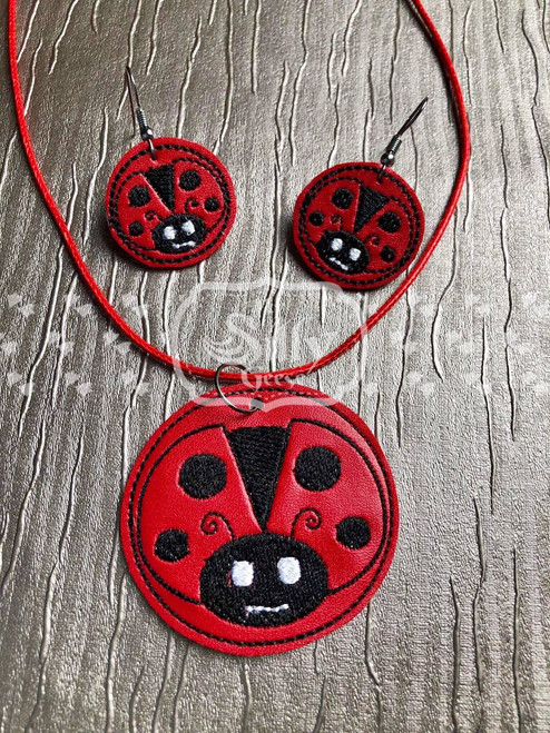 4x4 Lady Bug Jewelry (Earrings and Necklace Set)