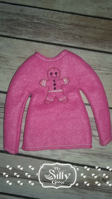 5x7 Elf Sweater Rounded Gingerbread Man