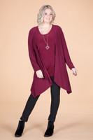Saturday Morning Open Front Cardigan - Wine
