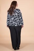 At Your Leisure Side Slit Top - Black Embossed Floral Print