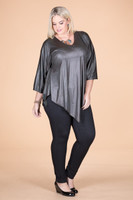 Girls Just Want to Have Fun Modern Top - Olive Faux Leather
