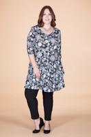Girl Next Door Tunic - B&W Floral Print