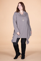 Coffee Break CowlNeck Tunic - Taupe