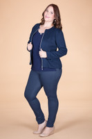 Get the Edge Seamed Ribbed Moto Jacket - Blue
