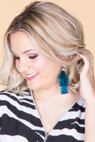 Layered Tassel Earrings - Teal