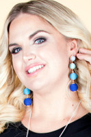 Mixed Tone Dangle Ball Earrings - Blue
