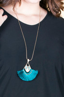 Long Tassel Fan Pendant Antique Chain Necklace - Teal