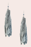 Jumbo Fabric Tassel Earrings - Grey