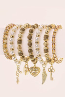 Mixed Charm Bead Stretch Bracelet Set - Brown