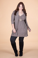 Going Your Way Tunic with Scarf - Taupe