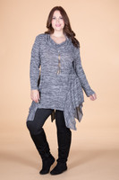 Coffee Break CowlNeck Tunic - Mixed Grey