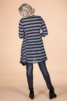 Day into Evening Tunic - Grey Striped Print