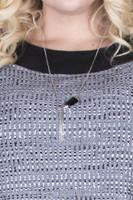 Horn Tassel Pendant Necklace - Black / Silver