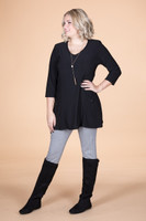 Fitted Pocket Tunic - Black