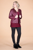 Get the Edge Seamed Moto Jacket - Wine Faux Leather