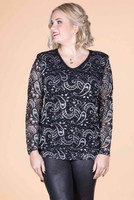 Lacy Does It Top - Silver Paisleys Print