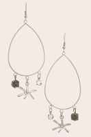 Crystal & Mix Charm Drop Earrings -  Rhodium