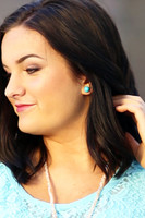 Large Bead Stud Earrings - Turquoise