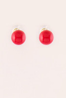 Large Bead Stud Earrings - Coral