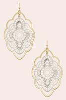 2 Tone Metal Laser Cut Flower Earrings - Gold/Silver