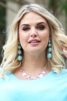 Linked Metallic Yarn Ball Earrings - Mint