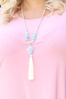 Semi Precious Pebble Tassel & Mixed Bead Necklace - Cream/Turquoise