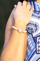 Crystal & Semi Precious Beads Stretch Bracelet - Peach