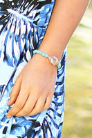 Crystal & Semi Precious Beads Stretch Bracelet - Turquoise