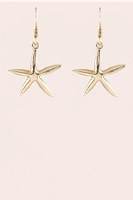 Metal Starfish Drop Earrings - Gold