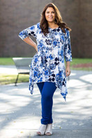 Your Best Foot Forward Tunic - Blue Hawiian Print