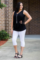 Go With The Flow Fringed Tank Top - Black