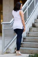 Every Question Answered Sleeveless Top - White