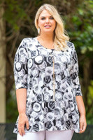 Beautifully Simple Tunic - Ink Bubble Print