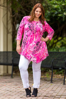 Say it Out Loud Tunic - Pink Plants Print