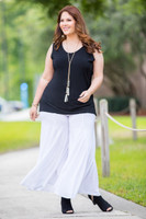 Swing Time Palazzo Pants - White
