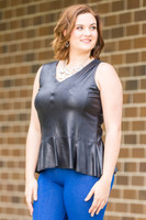 Gift to Yourself Sleeveless Top  - Black Faux Leather
