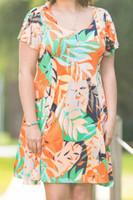 Better Than Ordinary Blouson Dress - Sunrise Leaves Print
