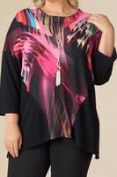 Easy Breezy Drop Shoulder Tunic - Pink Lights Print