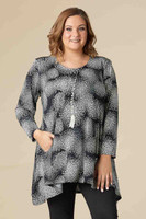 Chevron Shaped Tunic with Pocket - Grey Print