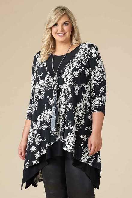 The Swing of Things Jacket - Black and White Flirty Floral