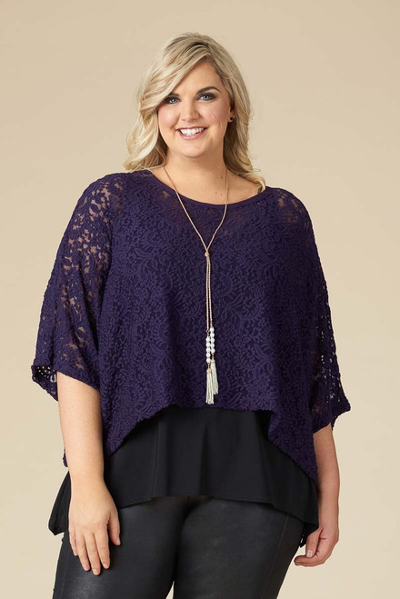 Transformative Lace Layering Top - Purple