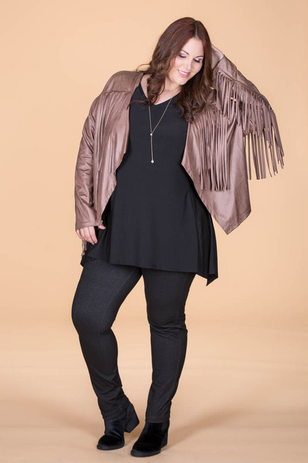 Leader of the Pack Fringed Bolero - Taupe Faux Leather